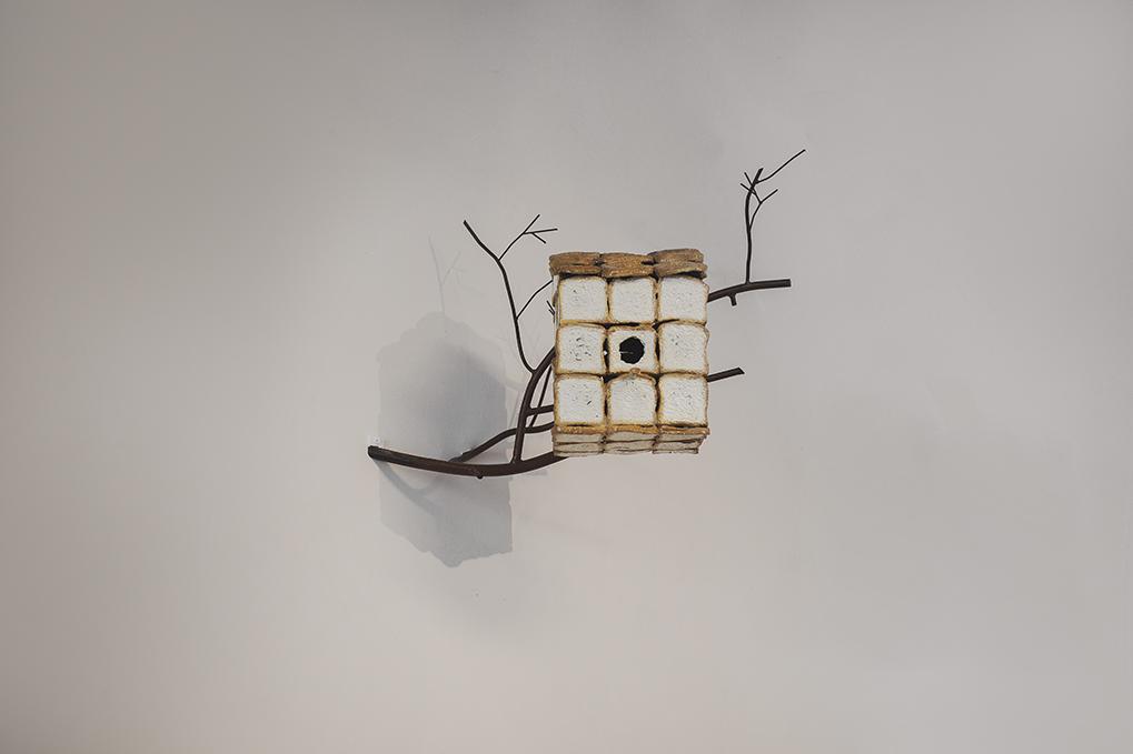 Bird house, painted aluminum, steel, 2018