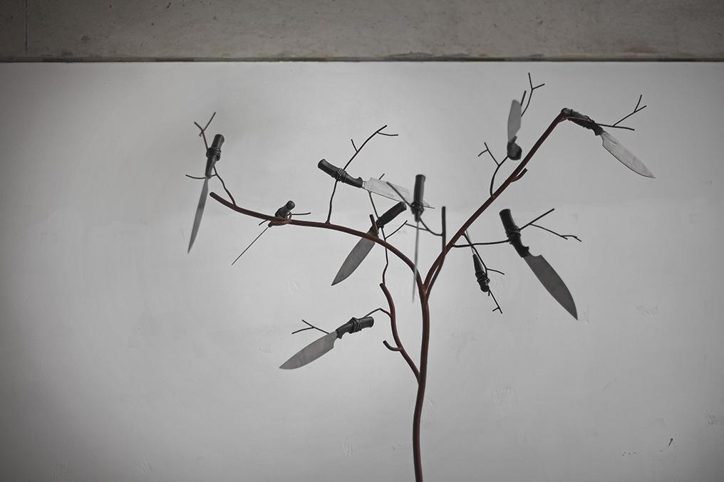 Tree (detail), cast iron, steel, 2017