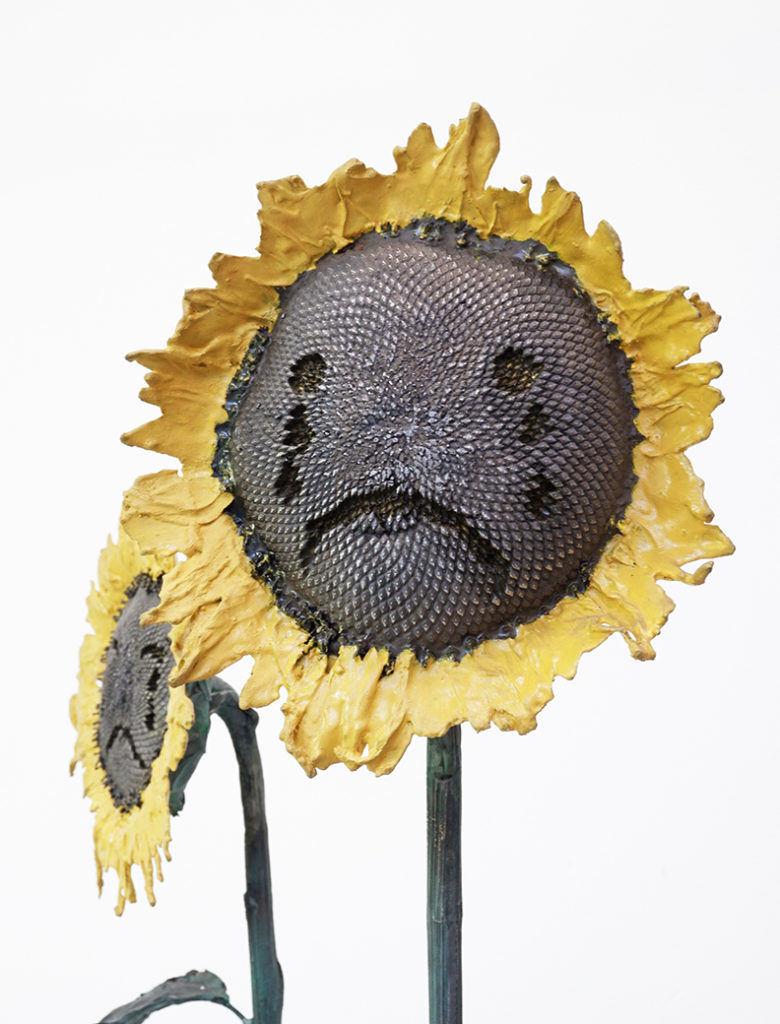Crying sunflowers (detail), painted iron, 2019, h: 220 cm