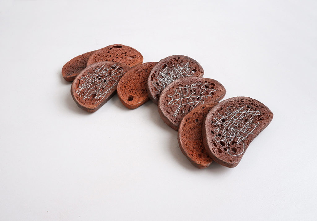 Drawings on bread, cast iron, 2018