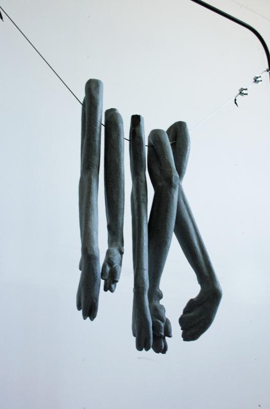 Dryer (detail), basalt, steel, 2016